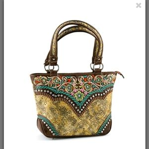 Western style embroidered handbag